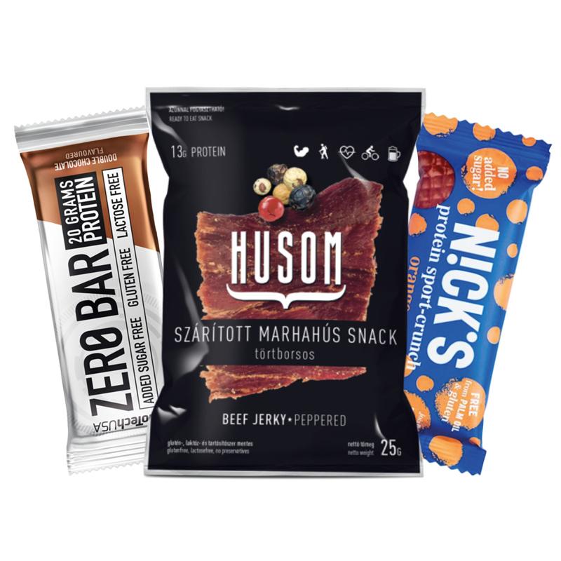 Biotech zero bar protein szelet, Nick's narancsos-csokoládés protein szelet, Husom jerky