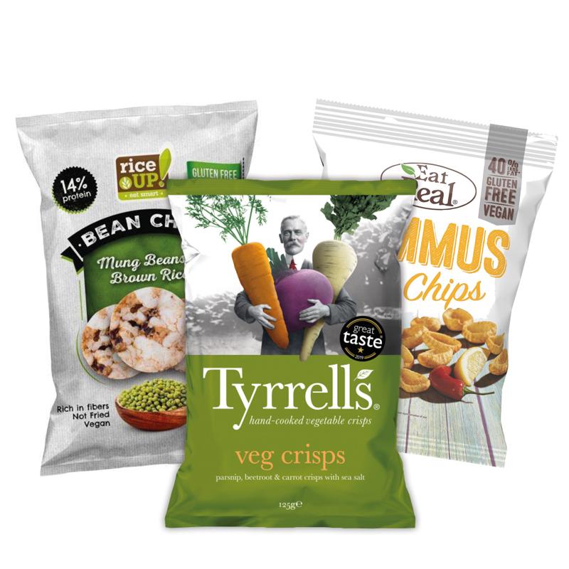 Tyrrell's zöldség chips, Rice up rizs chips, Eat real hummus chips.